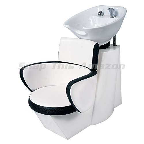TekNoh Backwash Unit Hairdresser Wash Unit with Mixer Tap and Shower Head Hair Washing Shampoo Chair Black White