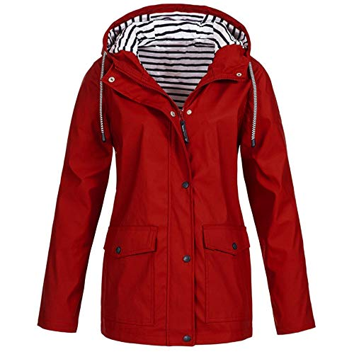 iHENGH Damen Frühling Herbst Mantel bequem Solide Regenjacke Outdoor Jacken Wasserdicht mit Kapuze Regenmantel Winddicht Parka Coat (Swim Xl Shorts Frauen)