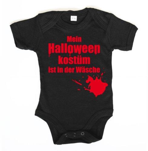 ::: MEIN HALLOWEEN KOSTÜM IST IN ... ::: Baby Body, Schwarz/Rot, 6-12 Mon (Schwarz Zahnfee Kostüm)