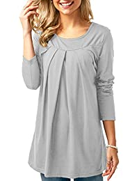 KISSMODA Womens Blouses Long Sleeve Ruffle Solid Color Casual Tunic Tops 5f3a7b1a4