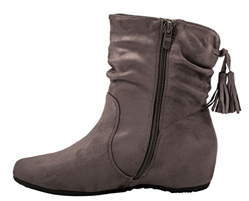 Elara Damen Schlupfstiefel | Bequeme Klassiche Stiefeletten | Flache Boots Grau Queen