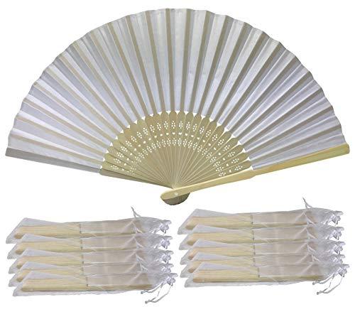 Rangebow Ventagli a mano in tessuto di seta, confezione da 10, 15, 50, 100 pezzi, colore: bianco, confezione regalo, per feste e matrimoni White