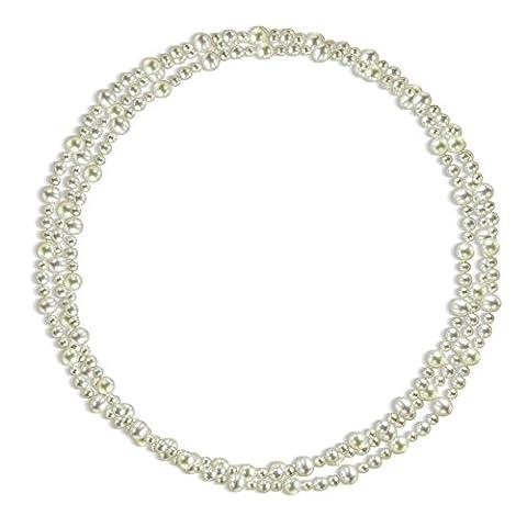 9–9,5mm, 6,5–7mm et 5–5.5mm Blanc d'eau douce de culture de bijoux Pearl Endless Collier, 203,2cm