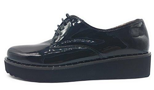 LINCE 77184 Zapato Cordon Charol Mujer Negro 36