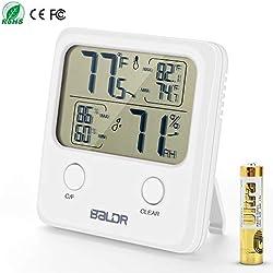 Thermomètre Hygromètre Numérique, Thermo-hygromètre Électronique Ecran LCD Détecteur de Température Humidité Mémoire de Max/Mini(Batteries incluses)