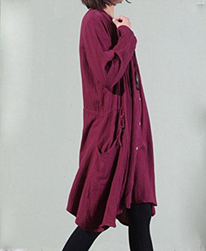NiSeng Donna Abito Camicia Lunga Casuale Loose Irregolare Lino Vestito Vino Rosso