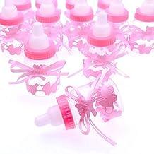 JZK 24 Rosa botella botellas cajas dulces porta dulces confeti regalo para nacimiento bautizo bautismo cumpleaños