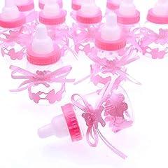 Idea Regalo - JZK 24 x Rosa biberon bottiglia bottiglina bottigliette portaconfetti bomboniere porta confetti per battesimo nascita comunione compleanno bambina bimba ragazza