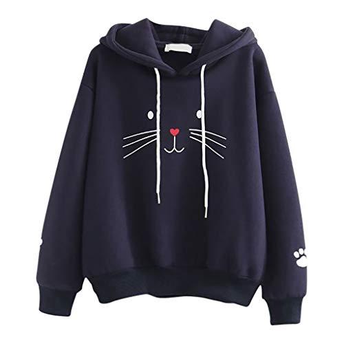 UFODB Damen Sweatshirt Pullover Jacke Hoodie Sweatjacke Kapuzenpullover Casual Loose Mit Kapuze Cat Printing Jumper Kapuzenpullis Oberbekleidung -