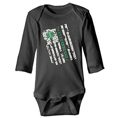 Unisex Cotton Long Sleeve Retro Border Patrol Thin Green Line EMT Newborn Baby Girls' Boys' Onesies Jumpsuit Cotton Racing Jacket