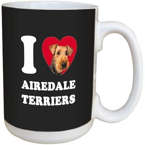 Árbol de-free Tarjeta de felicitación de caza de conejos y corazones de Airedale LM45147 15 oz taza de cerámica con mango completo
