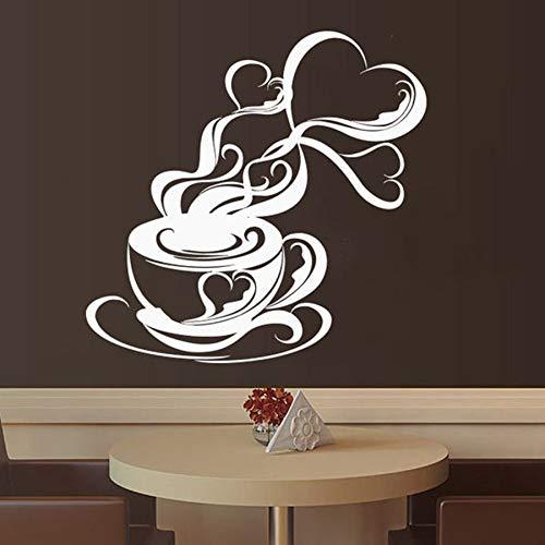 Tianpengyuanshuai Cafe wandtattoos Cappuccino heißes getränk Cafe wanddekoration türen und Fenster Aufkleber Kaffee Aroma Tasse entfernbares wandbild 102x104cm