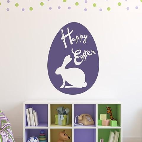 Conejo de Pascua y huevo de Pascua Silueta Pegatinas de Pared estacional del arte en las etiquetas disponible en 5 tamaños y 25 colores Extra pequeño Negro