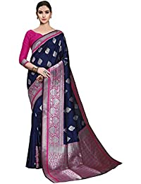 Soru Fashion Women's Stylish Blue Kanjivaram Art Silk Saree with Blouse Piece (Cott-780_Dark Blue)