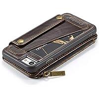iPhone XR Hülle, TechCode Magnetische abnehmbare Premium Luxury PU Leder Retro Vintage Smart Zipper Wallet Folio Schutzhülle mit Kartensteckplätzen und Geldtasche Brieftasche Geldbörse für 6,1 Zoll iPhone XR, Brown