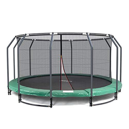 Ampel 24 Deluxe Ground Trampolin 430 cm komplett mit innenliegendem Netz, Sicherheitsnetz mit Stabilitätsring & 12 Stangen, Outdoor Gartentrampolin Belastbarkeit 35 kg (Trampolin Im Boden)