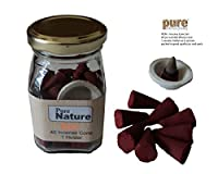 Pure Source India high quality scented (ROSE) incense dhoop cone 40 pcs and one ceramic cute stand ,packed in squire shape good quality glass jar ,