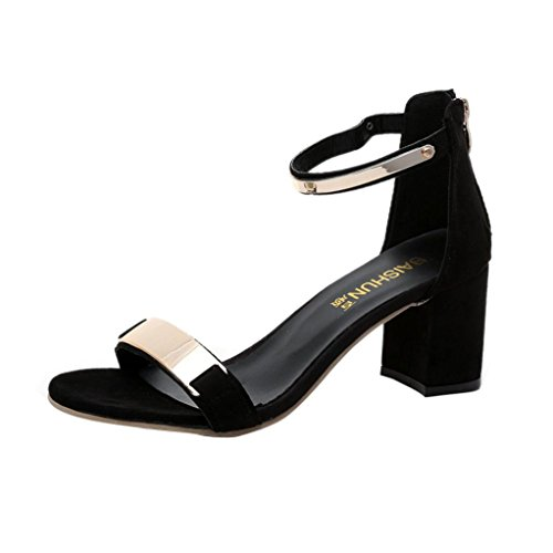 Hunpta Sommer Sandalen zehenoffenen Frauen Sandalen dicke Ferse Schuhe Gladiator Schuhe Schwarz
