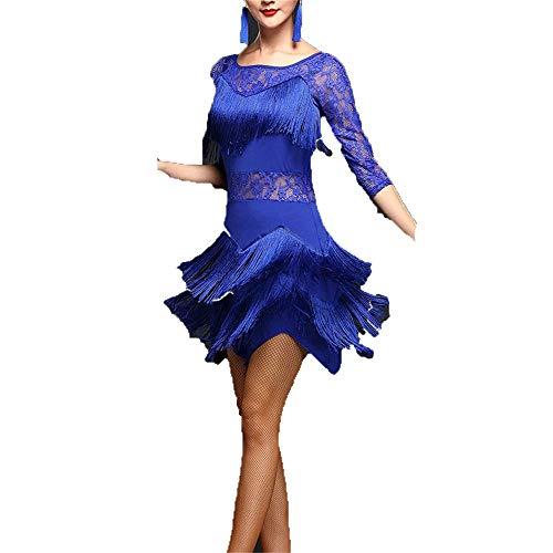 Quasten Flapper Latin Dance Dress Kostüme halbe Ärmel Mesh Floral Lace Tango Dancewear Leicht zu Tragen und zu Waschen (Farbe : Royal Blue, Größe : - Lace Flapper Kostüm