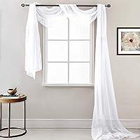 RYB HOME Cortinas Visillos Blanco Decor Ventanas - Pañuelo Largo Diseño Moderno Cortinas Tul Colgantes para Salon Habitacion Juvenil Matrimonio, 1 Panel, 548 x 152 cm (Al x An)