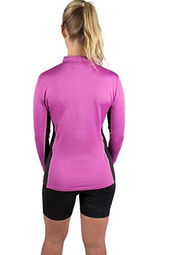 Gregster T-shirt fonctionnel de sport à manches longues avec col pour femme Violet - Violet
