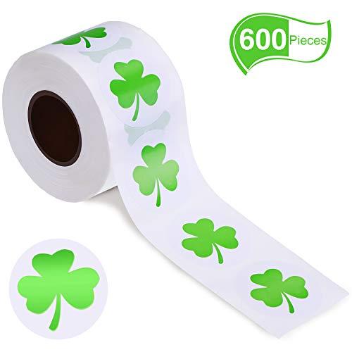 Zhehao 600 Stücke St. Patrick's Tag Aufkleber Shamrock Roll Aufkleber Selbstklebende Dekorative Aufkleber für Party Supplies (Hellgrün) (Supplies Shamrock-party)