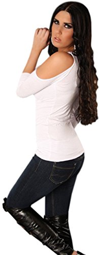 Instyle - T-shirt - Uni - Col ras du cou - Manches 3/4 - Femme Blanc - Blanc