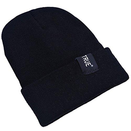 Belsen Uomo lettera Berretto Cap cappello lavorato a maglia (nero)