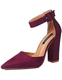 0da415e9a854 ZFAFA Damen Pumps High Heels Dicker Absatz Sandalen mit Pfennigabsatz Party  Hochzeit Schuhe Tanzschuhe, Red
