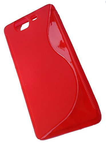 For Micromax Canvas Knight A350 Phone Soft TPU Rubber Bumper S Line Premium Back Case Cover - RED  available at amazon for Rs.199