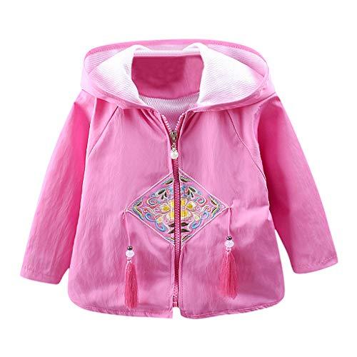 Jaysis Baby Mantel, Kleinkind Herbst Winter Coat Festlich Baumwolle Trenchcoat Fashion Perle Reißverschluss Outerwear mit Kapuze Blume Drucken Ruhm Stil Babykleidung