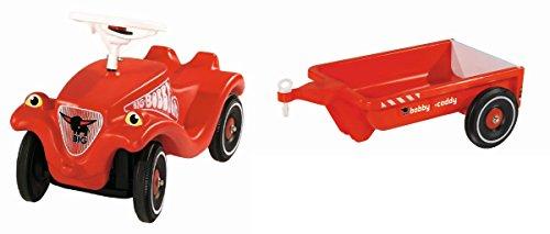 BIG 2er Set: Bobby Car Classic rotes Kinderauto + Bobby Caddy Anhänger