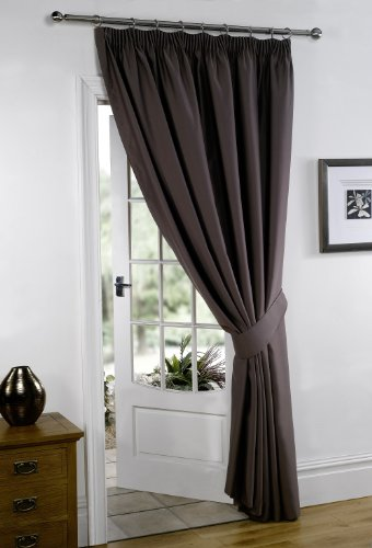Chocolate Brown 66″ Width x 84″ Drop ( Only 1 Panel ) , Supersoft Thermal BLACKOUT DOOR Curtain, 'Winter Warm but Summer Cool' by VICEROY BEDDING