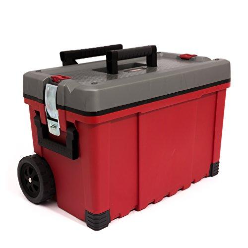 """Preisvergleich Produktbild Keter Werkzeugkasten 25"""" Hawk Karre rot grau Werkzeugkoffer Trolley Rollen"""