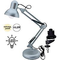 Flexo Serie Antigona Articulable Plata Con Bombilla LED