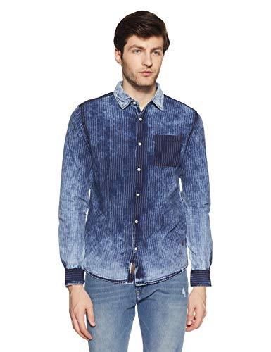 Being Human Men's Striped Regular Fit Casual Shirt (BHMLS8527_Indigo_44 Cm/2xl)
