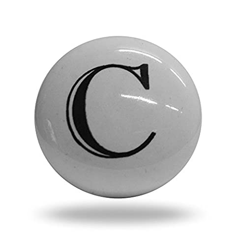 Porte de l'alphabet Lettre C d'armoire en céramique Bouton de tiroir et poignée