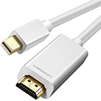 UGREEN Mini DisplayPort a HDMI, Adaptador Cable Mini DP (Thunderbolt Compatible) a HDMI con Conector Dorado, 1080P HDTV Cable de Audio para MacBook, iMac, Macbook Air, Mac Mini o Tablets (2M, Blanco)