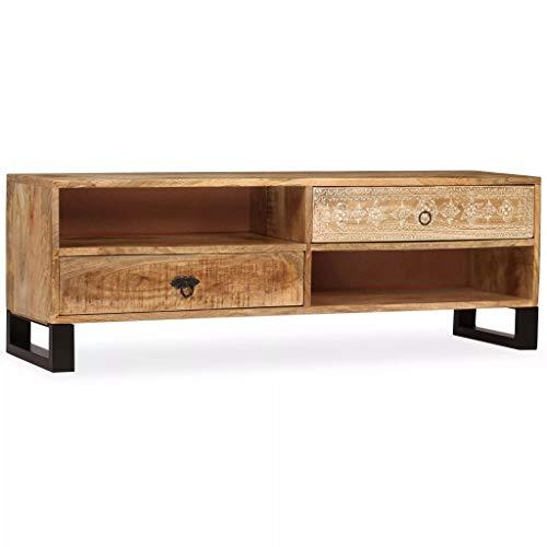 vidaXL Meuble TV Bois Massif de Manguier Table Basse de Salon Décor Maison