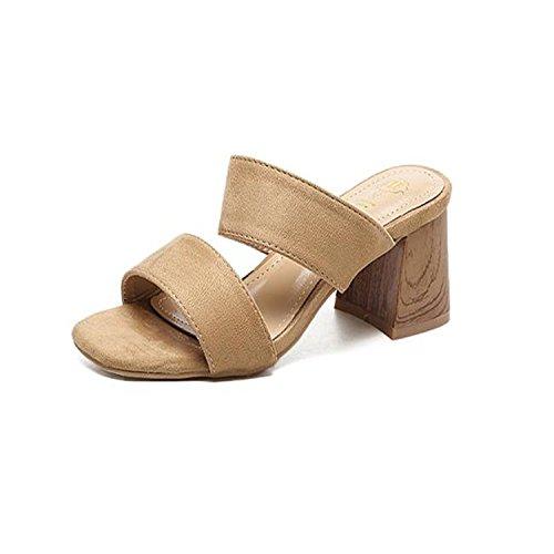 ZYUSHIZ Wilde Frauen Schuhe Western Open Toe Rauh mit High-Heel Sandalen Hausschuhe Aprikose I5XxAknP