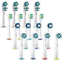 Oralteck 16 Cabezales compatibles con Cepillos Electricos Oral B. 4 x Blisters de 4 unidades, 4 Floss Action, 4 Cross Action, 4 Dual Clean y 4 Precision Clean.