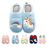 Coralup Kids Cotton Indoor Slippers Unicorn House Shoes Anti-Slip Winter Comfort Warm Soft