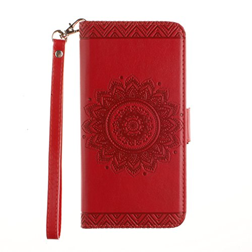 Custodia Portafoglio per iPhone 5S,Cover Resistente per iPhone 5,YingC-T Lusso Elegante Mandala Fiori Retrò Unico Rigida Design Brillantini Glitter Bling Diamante Strass Custodia Flip PU pelle Wallet Rosso