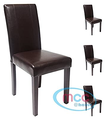 Set of 4 Faux Leather Dining Chairs For Home & Commercial Restaurants [Brown* Black* Red* Cream*] - cheap UK light store.