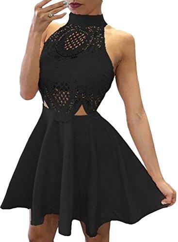 ACHICGIRL Women's Halter Backless Sleeveless A-line Party Dress Black