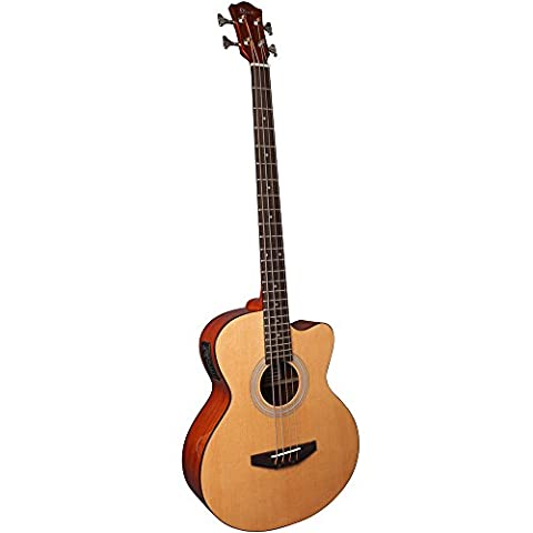 Lindo ACB Series Spruce Top Electro Acoustic Bass Guitar with Preamp / Tuner / EQ and Canvas Carry Case - Natural