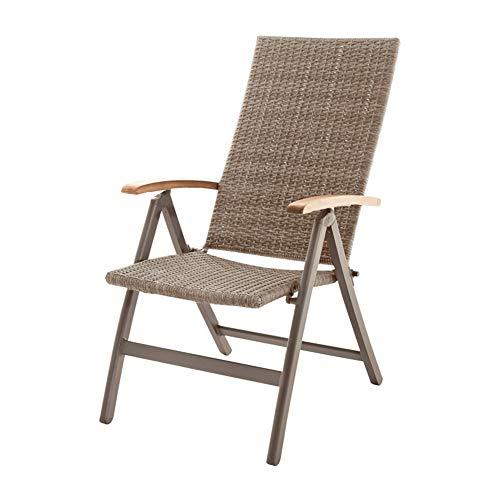 Aluminium Klappsessel Multipositionssessel Gartenstuhl Klappstuhl Sessel (Beige-Braun)