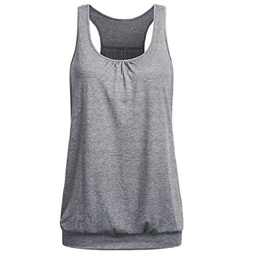 Lonshell-sport racerback delle donne vest yoga wear da maniche a spalle scoperte formazione e palestra canotta (l, grigio)