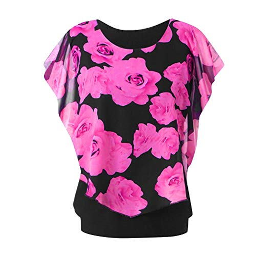 Double-layer Tunika (POPLY Tops für Damen Mode Rundhals Plus Size Lässige Oberteil Frauen Ärmeldruck Blumendruck Top Double Layer T-Shirt(Hot Pink,5XL))