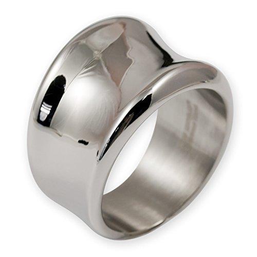 Fly Style Damen-Ring Bandring Edelstahl breit silber (17.2 – 22.0 mm) risst054
